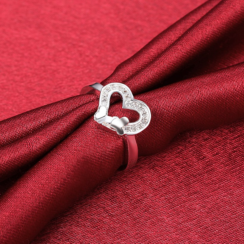 Wholesale New Design Fashion silver plated Heart Shape Classic Love Ring 5A Zircon Finger Rings For Women Engagement Jewelry TGSPR429 3