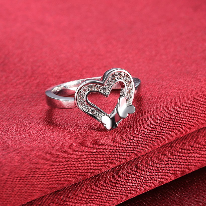Wholesale New Design Fashion silver plated Heart Shape Classic Love Ring 5A Zircon Finger Rings For Women Engagement Jewelry TGSPR429 4