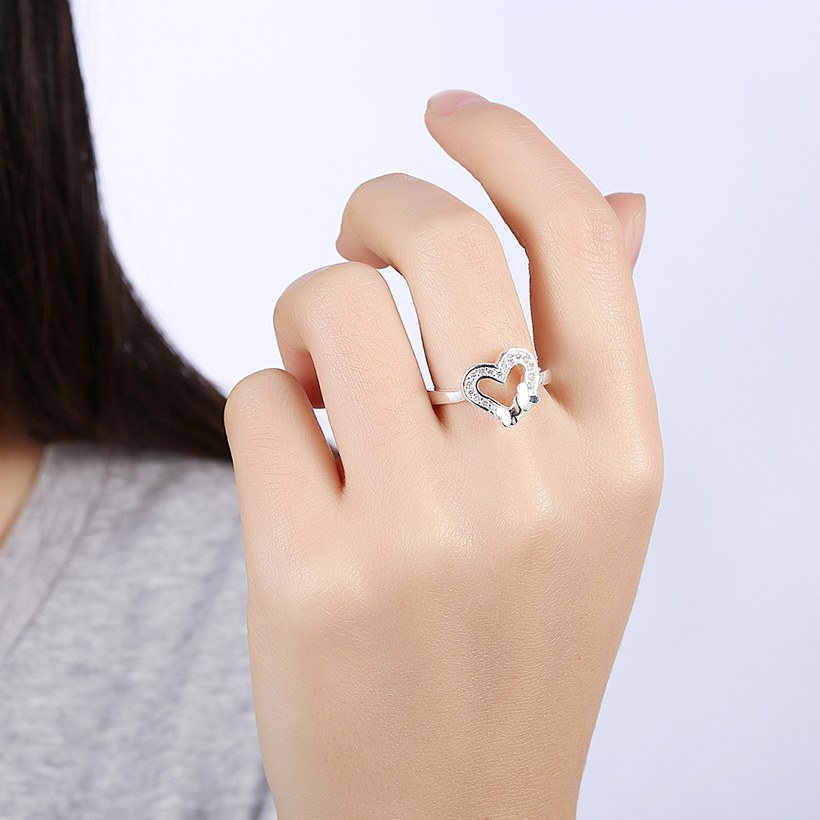 Wholesale New Design Fashion silver plated Heart Shape Classic Love Ring 5A Zircon Finger Rings For Women Engagement Jewelry TGSPR429 5