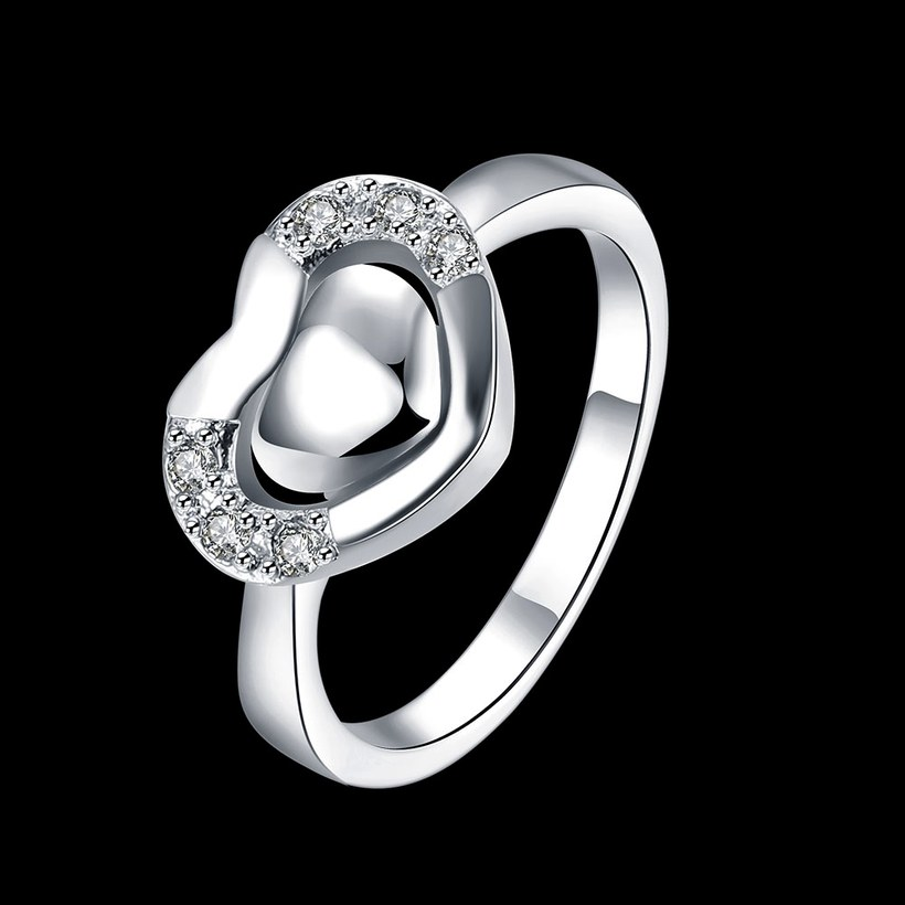 Wholesale New Design Fashion silver plated Heart Shape Classic Love Ring 5A Zircon Finger Rings For Women Engagement Jewelry  TGSPR432 0