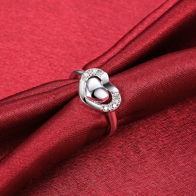 Wholesale New Design Fashion silver plated Heart Shape Classic Love Ring 5A Zircon Finger Rings For Women Engagement Jewelry  TGSPR432 3