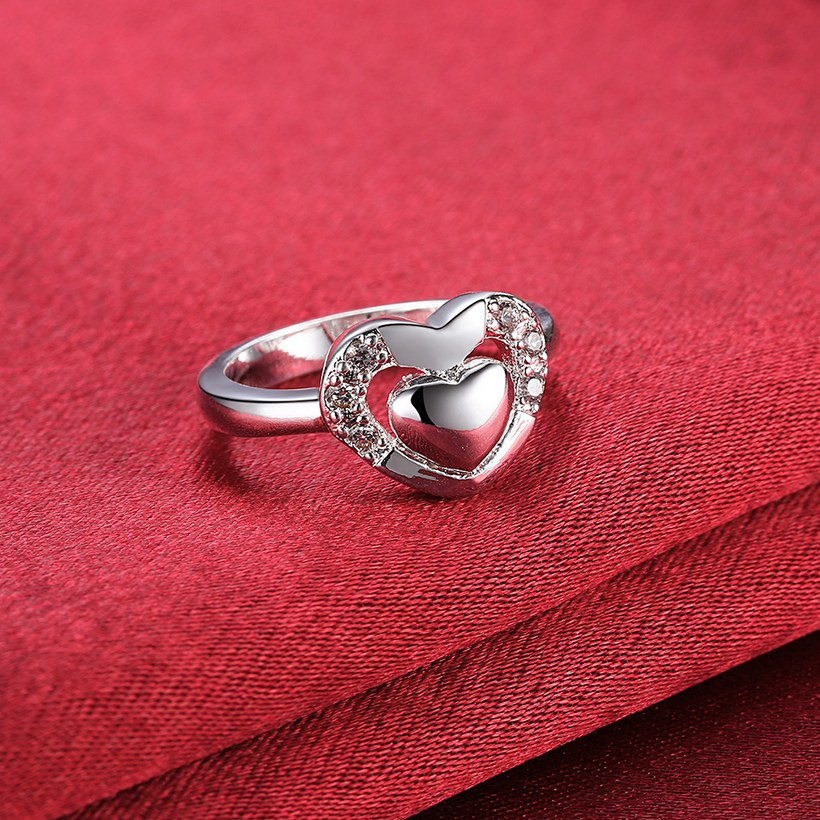 Wholesale New Design Fashion silver plated Heart Shape Classic Love Ring 5A Zircon Finger Rings For Women Engagement Jewelry  TGSPR432 4