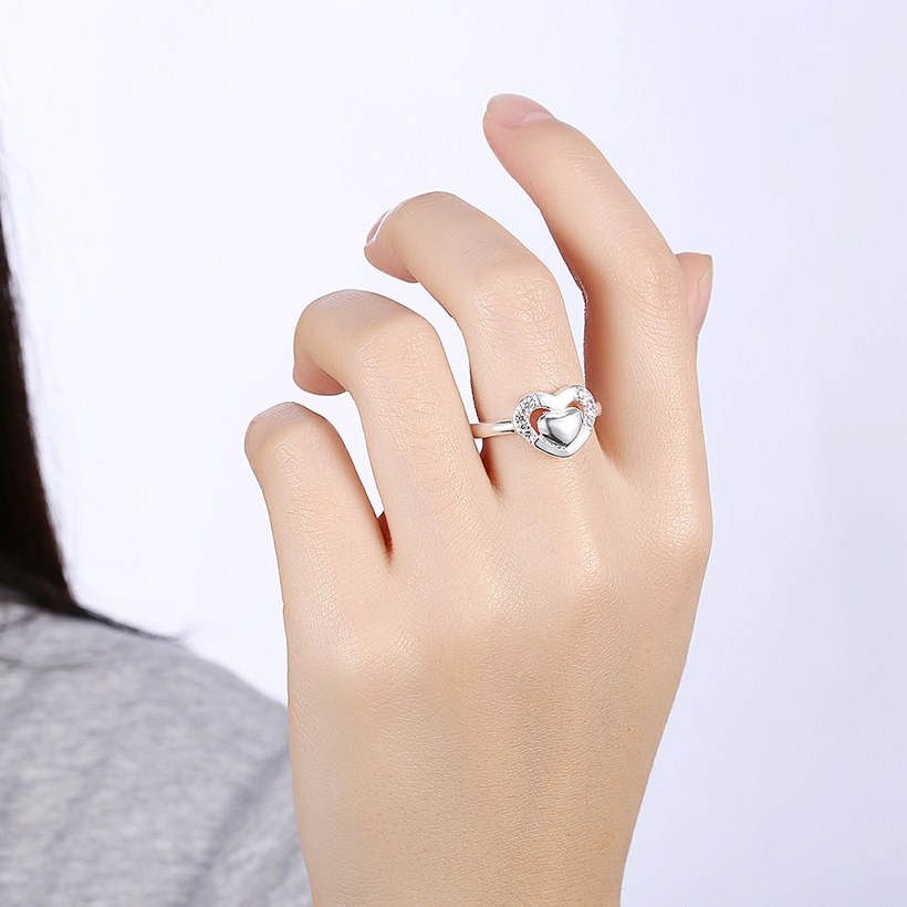 Wholesale New Design Fashion silver plated Heart Shape Classic Love Ring 5A Zircon Finger Rings For Women Engagement Jewelry  TGSPR432 5