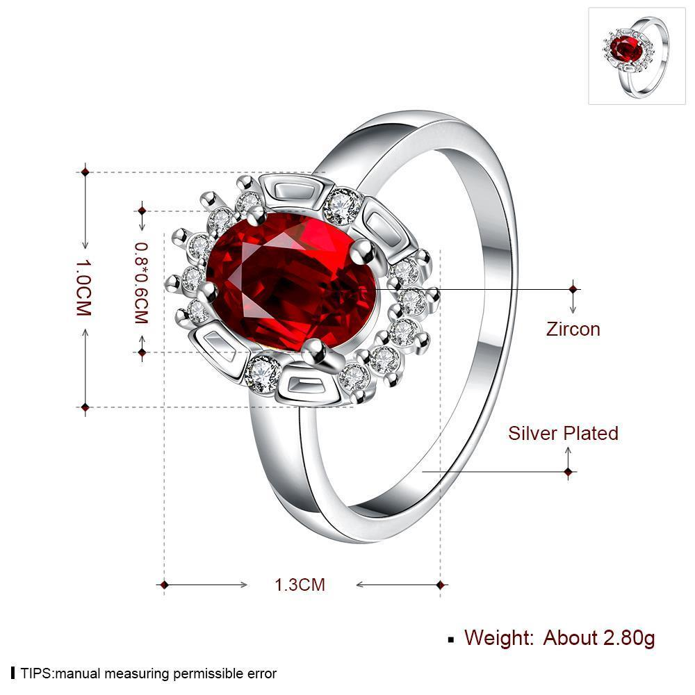 Wholesale Hot selling Female Ring from China Jewelry Red Round Circle Zircon Rings for Women Girl Jewelry Girlfriend Birthday Gift TGSPR458 4