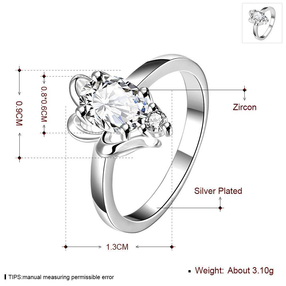 Wholesale Romantic Classical Female AAA Crystal white Zircon Stone Ring Silver color Finger Ring Promise Engagement Rings for Women TGSPR518 0