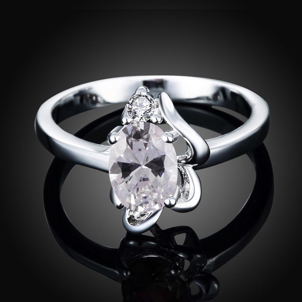 Wholesale Romantic Classical Female AAA Crystal white Zircon Stone Ring Silver color Finger Ring Promise Engagement Rings for Women TGSPR518 1