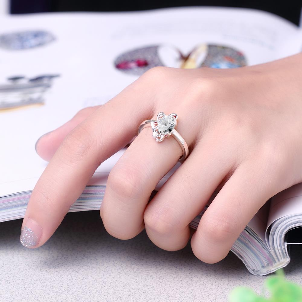 Wholesale Romantic Classical Female AAA Crystal white Zircon Stone Ring Silver color Finger Ring Promise Engagement Rings for Women TGSPR518 4