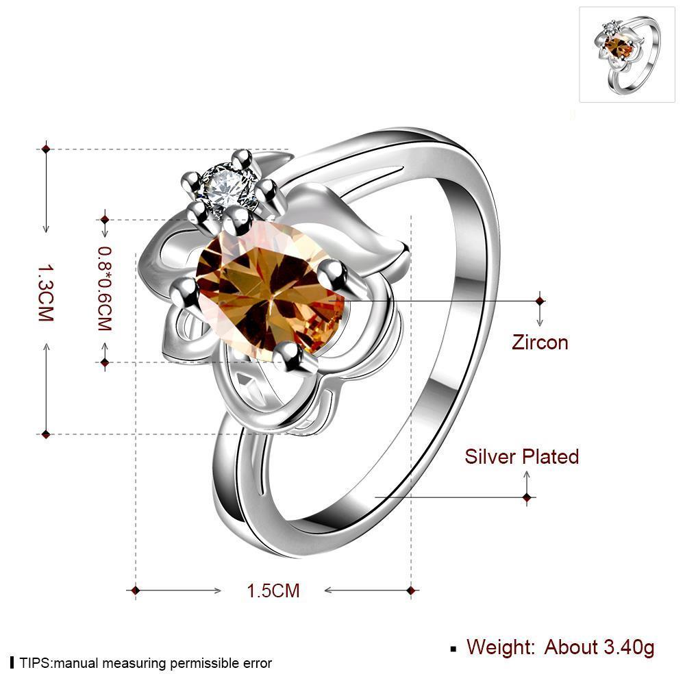 Wholesale Fashion jewelry from China Romantic Classical champagne Zircon Ring Silver color Finger ring Promise Engagement Rings for Women TGSPR526 0