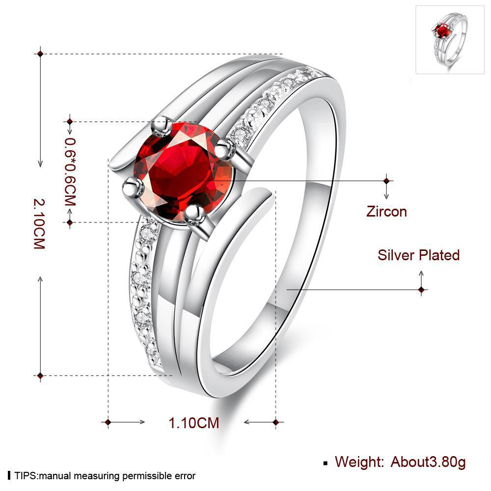 Wholesale jewelry from China Romantic Classical red Zircon Ring Silver Finger jewelry party Promise Engagement Rings for Women TGSPR600 0