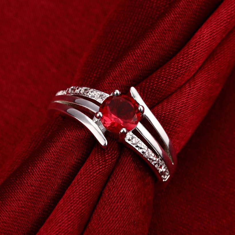 Wholesale jewelry from China Romantic Classical red Zircon Ring Silver Finger jewelry party Promise Engagement Rings for Women TGSPR600 3