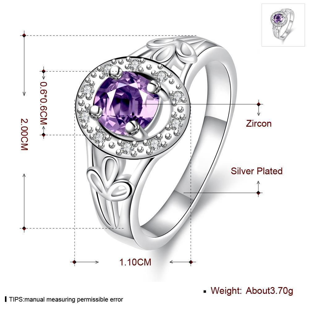 Wholesale Fashion jewelry from China Romantic Classical purple Zircon Silver color Finger jewelry Promise Engagement party Rings for Women TGSPR633 0