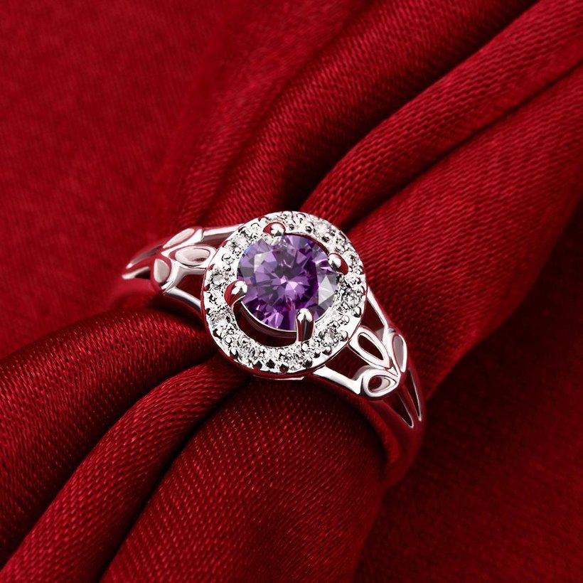 Wholesale Fashion jewelry from China Romantic Classical purple Zircon Silver color Finger jewelry Promise Engagement party Rings for Women TGSPR633 3