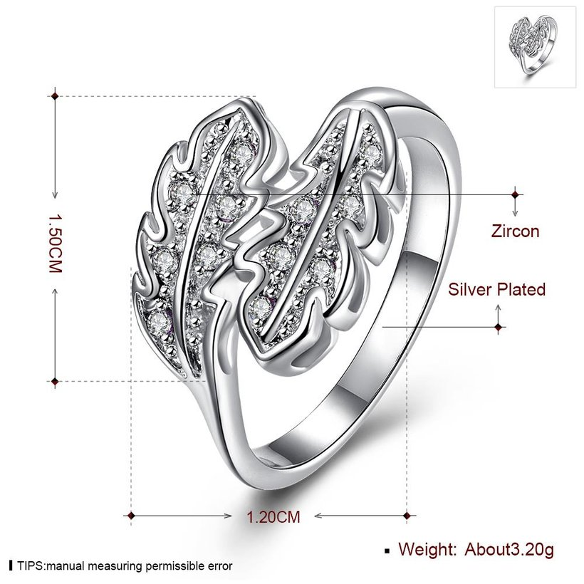 Wholesale Fashion Leaf Rings For Women Girls white zircon Knuckle Ring Engagement Wedding Party Jewelry TGSPR703 0