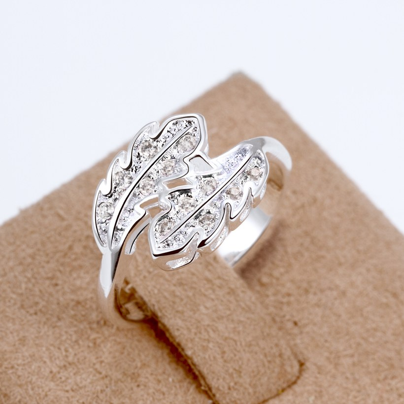 Wholesale Fashion Leaf Rings For Women Girls white zircon Knuckle Ring Engagement Wedding Party Jewelry TGSPR703 2