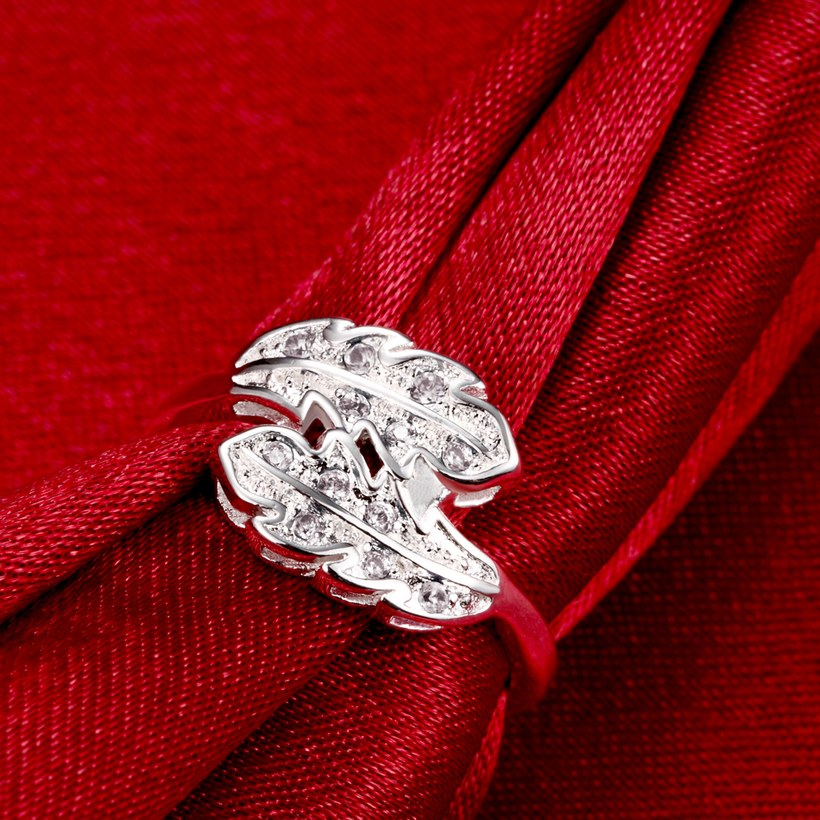 Wholesale Fashion Leaf Rings For Women Girls white zircon Knuckle Ring Engagement Wedding Party Jewelry TGSPR703 3