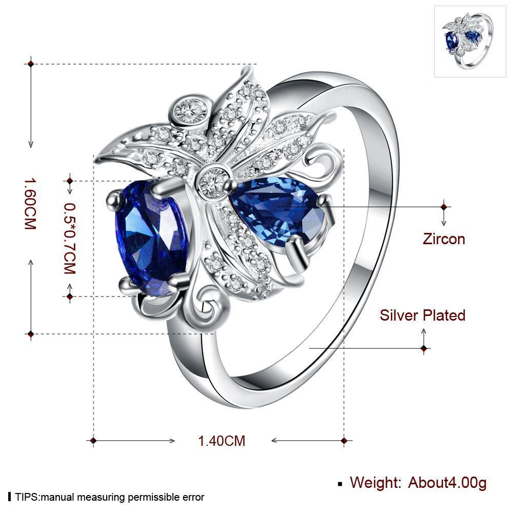 Wholesale Lingmei Beauty Bohemia style Wedding Band Silver Color Jewelry Blue Zircon Women Ring Anniversary Gifts TGSPR032 0