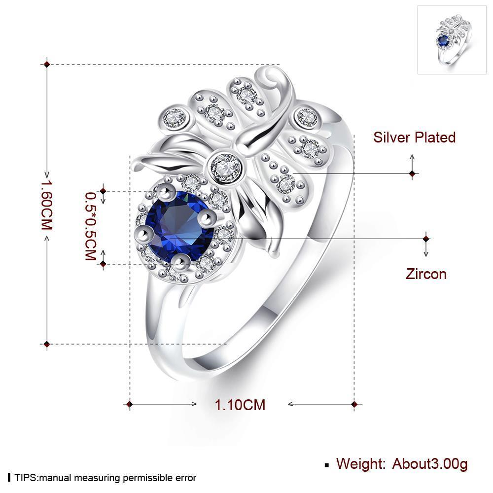 Wholesale Hot sale rings from China for Lady Promotion Shiny blue Zircon dragonfly rings Banquet Holiday Party Christmas wedding jewelry TGSPR116 0