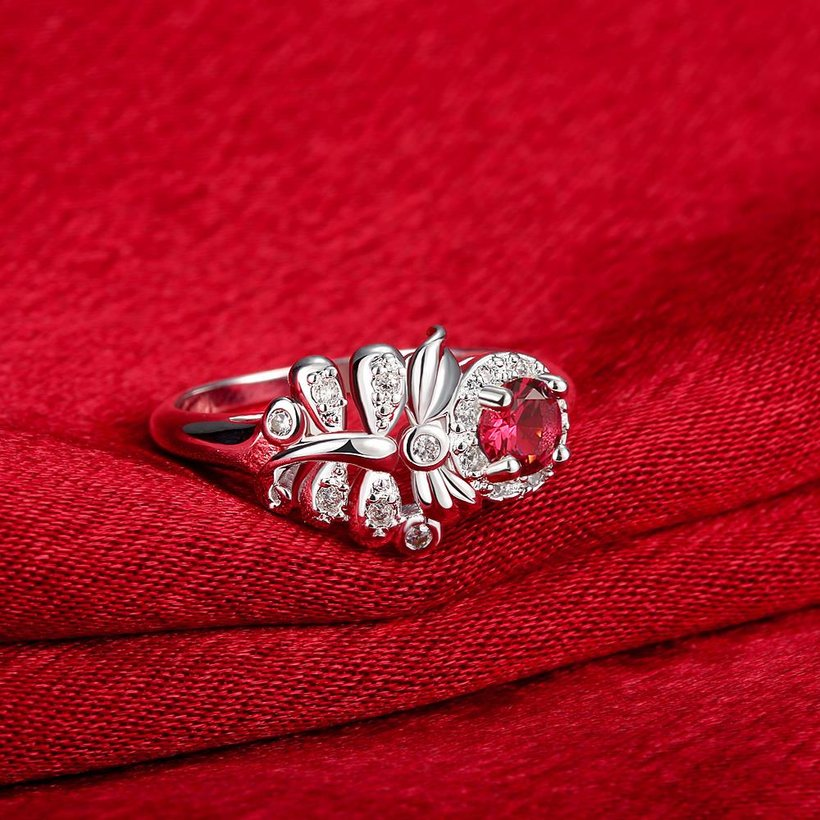 Wholesale Hot sale rings from China for Lady Promotion Shiny red Zircon dragonfly rings Banquet Holiday Party Christmas wedding jewelry TGSPR118 0