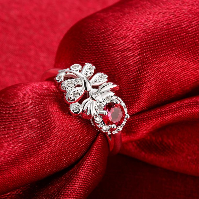 Wholesale Hot sale rings from China for Lady Promotion Shiny red Zircon dragonfly rings Banquet Holiday Party Christmas wedding jewelry TGSPR118 1