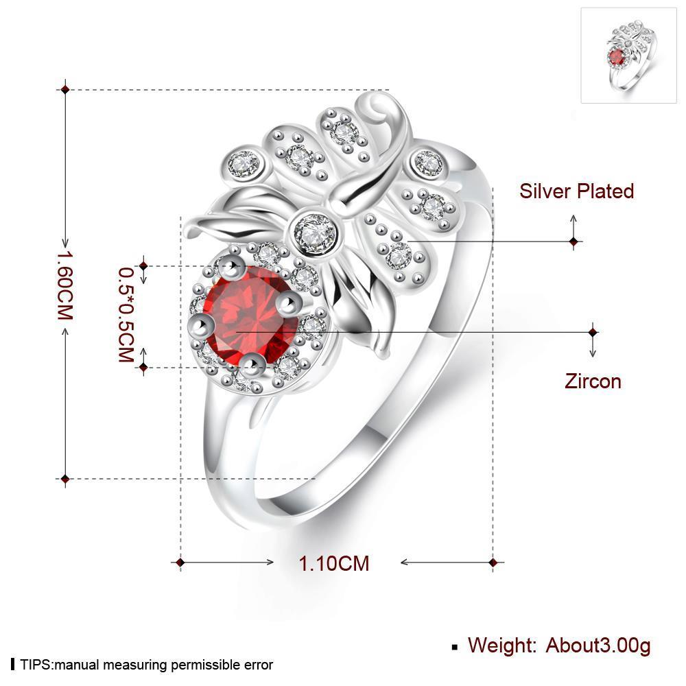 Wholesale Hot sale rings from China for Lady Promotion Shiny red Zircon dragonfly rings Banquet Holiday Party Christmas wedding jewelry TGSPR118 3