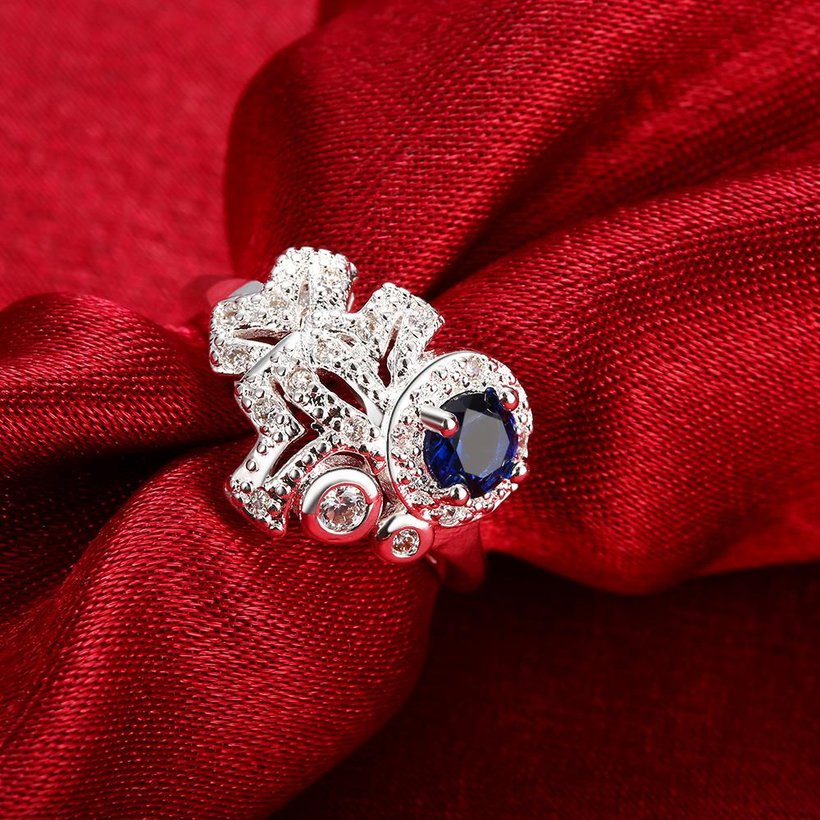 Wholesale rings from China for Lady Promotion Romantic Shiny blue Zircon Banquet Holiday Party Christmas wedding jewelry TGSPR130 2