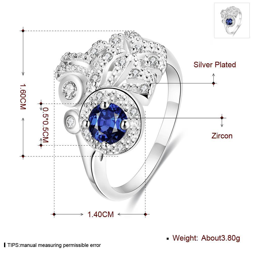 Wholesale rings from China for Lady Promotion Romantic Shiny blue Zircon Banquet Holiday Party Christmas wedding jewelry TGSPR130 4