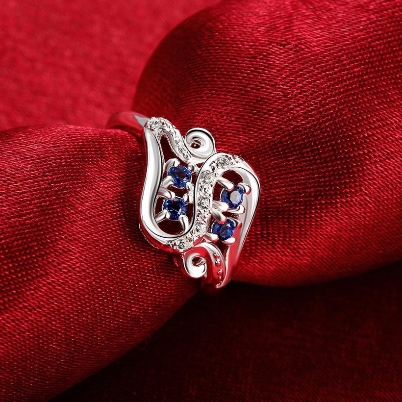 Wholesale trendy rings from China for Lady Promotion Romantic Shiny blue Zircon Banquet Holiday Party Christmas wedding jewelry TGSPR164 2