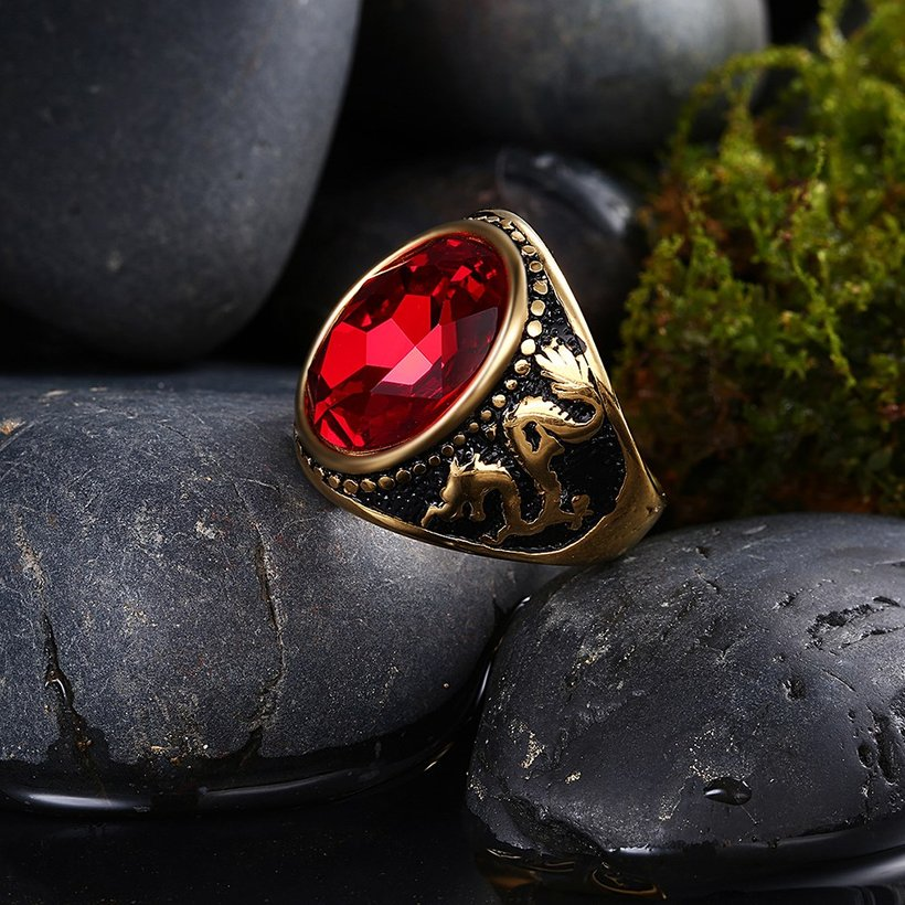 Wholesale Euramerican fashion Vintage big oval red Zircon Stone Rings For Male 18K gold dragon pattern Stainless Steel jewelry Charm Gift  TGSTR137 1
