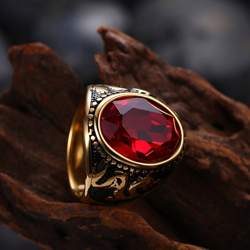 Wholesale Euramerican fashion Vintage big oval red Zircon Stone Rings For Male 18K gold dragon pattern Stainless Steel jewelry Charm Gift  TGSTR137 2