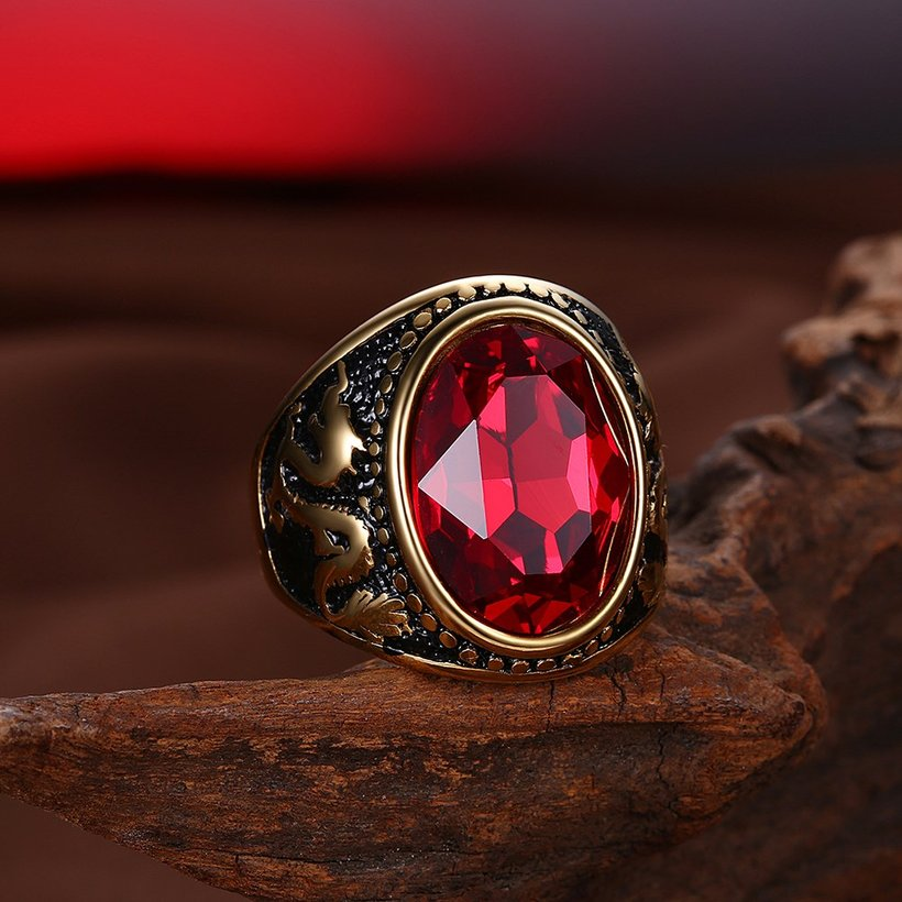 Wholesale Euramerican fashion Vintage big oval red Zircon Stone Rings For Male 18K gold dragon pattern Stainless Steel jewelry Charm Gift  TGSTR137 3