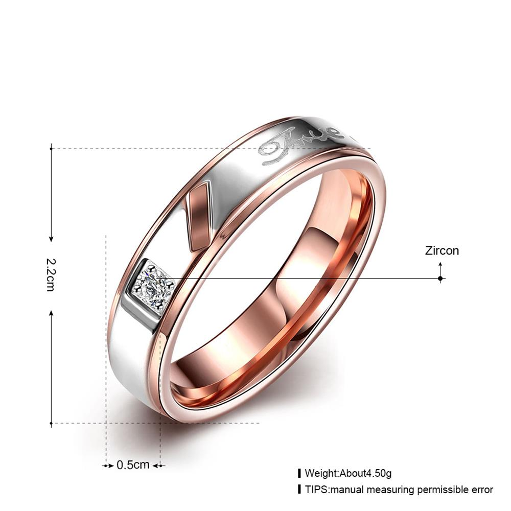 Wholesale Hot selling Romantic Trendy Wedding Couple Rings white Cubic Zircon Rings Personality Gold and Black Couple Ring TGSTR025 3