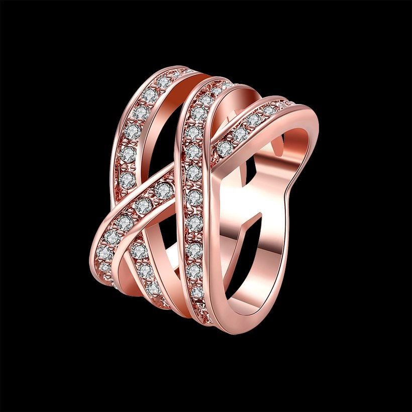 Wholesale Trendy Rose Gold Geometric White Crystal Ring TGGPR764 0