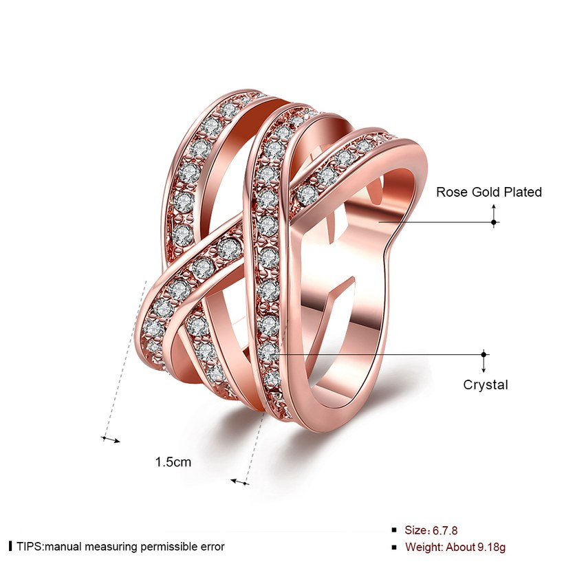 Wholesale Trendy Rose Gold Geometric White Crystal Ring TGGPR764 1