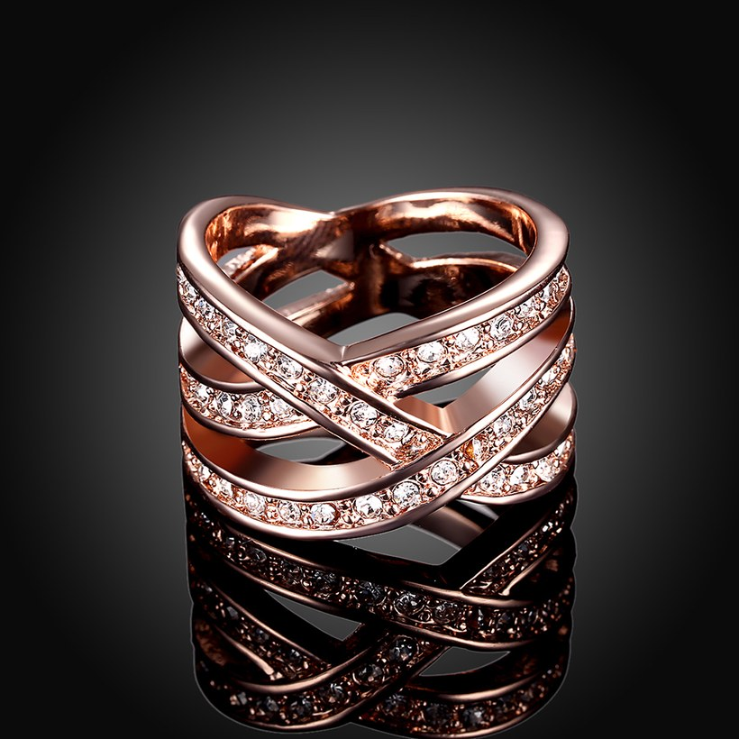 Wholesale Trendy Rose Gold Geometric White Crystal Ring TGGPR764 2