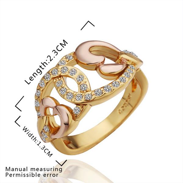 Wholesale Classic 24K Gold Geometric White Rhinestone Ring TGGPR1095 2
