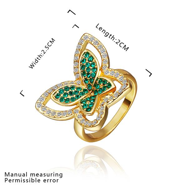 Wholesale Trendy 24K Gold Insect Green Rhinestone Ring TGGPR1177 0