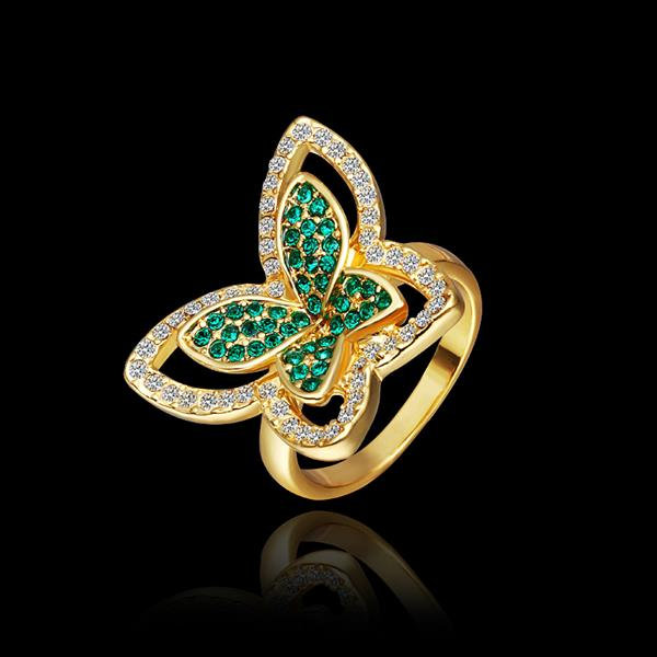 Wholesale Trendy 24K Gold Insect Green Rhinestone Ring TGGPR1177 1