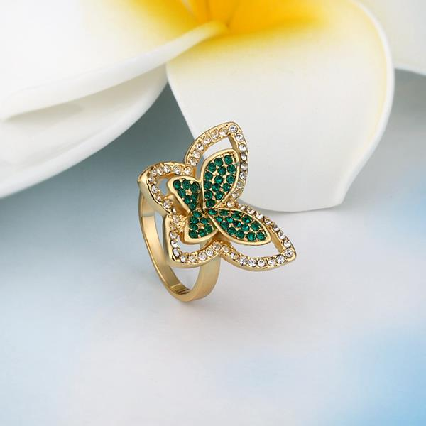 Wholesale Trendy 24K Gold Insect Green Rhinestone Ring TGGPR1177 2