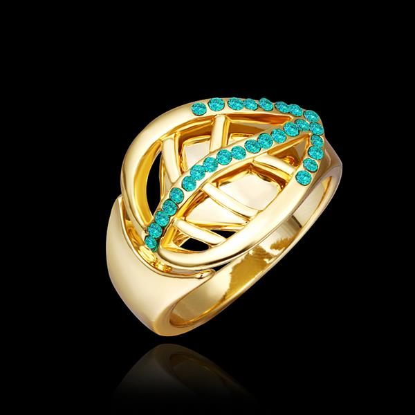 Wholesale Trendy 24K Gold Plant Green Crystal Ring TGGPR1316 0