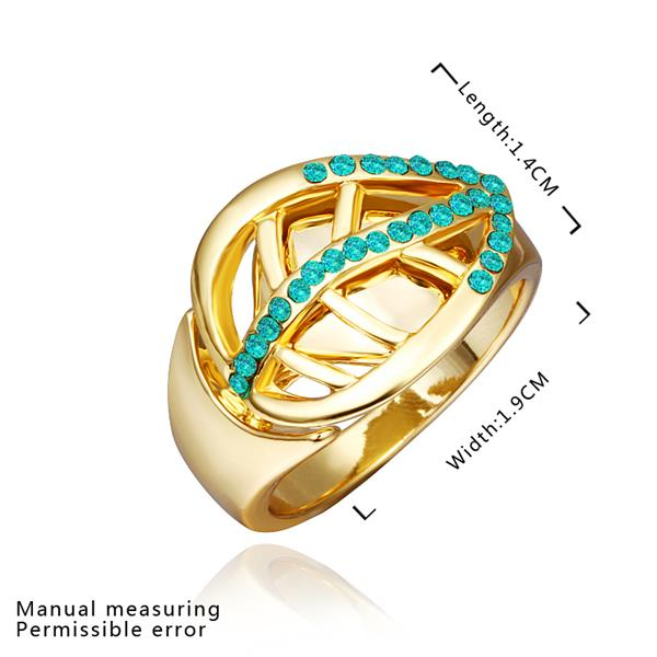 Wholesale Trendy 24K Gold Plant Green Crystal Ring TGGPR1316 1