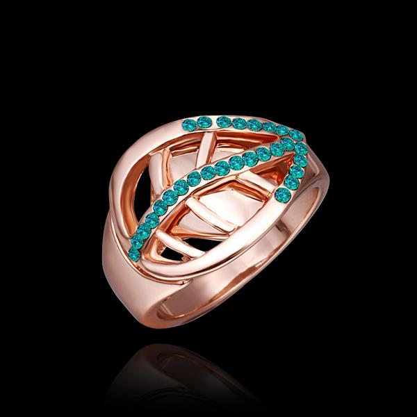Wholesale Trendy 24K Gold Plant Green Crystal Ring TGGPR1316 3