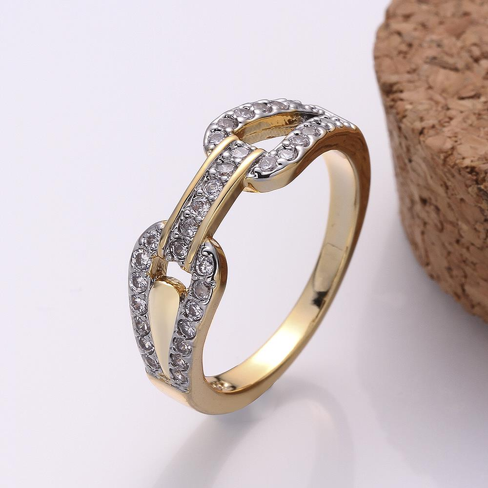 Wholesale Trendy 24K Gold Round White CZ Ring TGGPR749 0