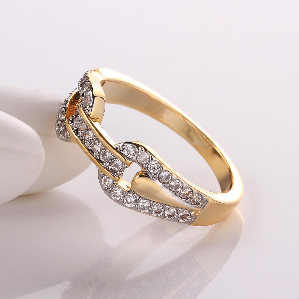 Wholesale Trendy 24K Gold Round White CZ Ring TGGPR749 1
