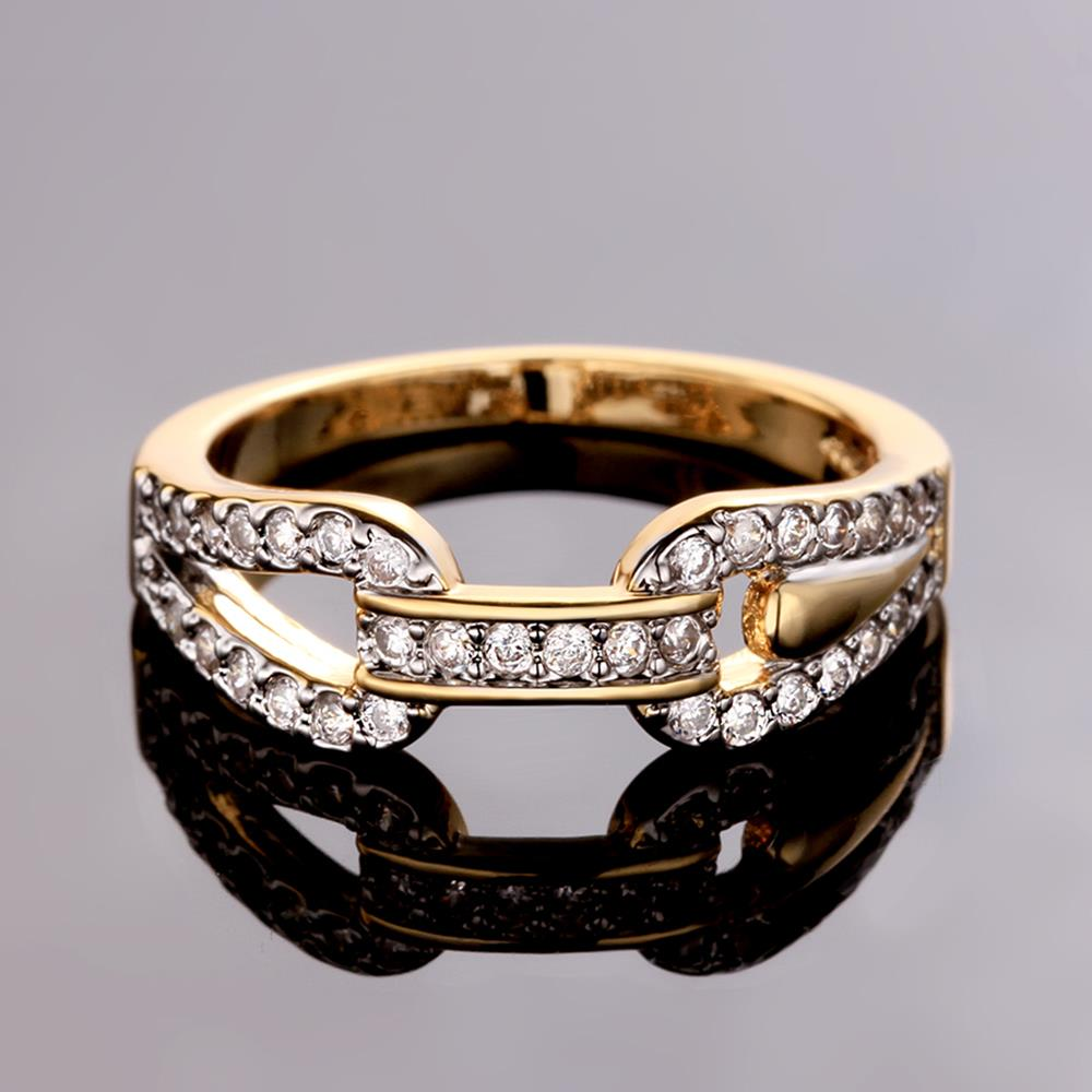 Wholesale Trendy 24K Gold Round White CZ Ring TGGPR749 2