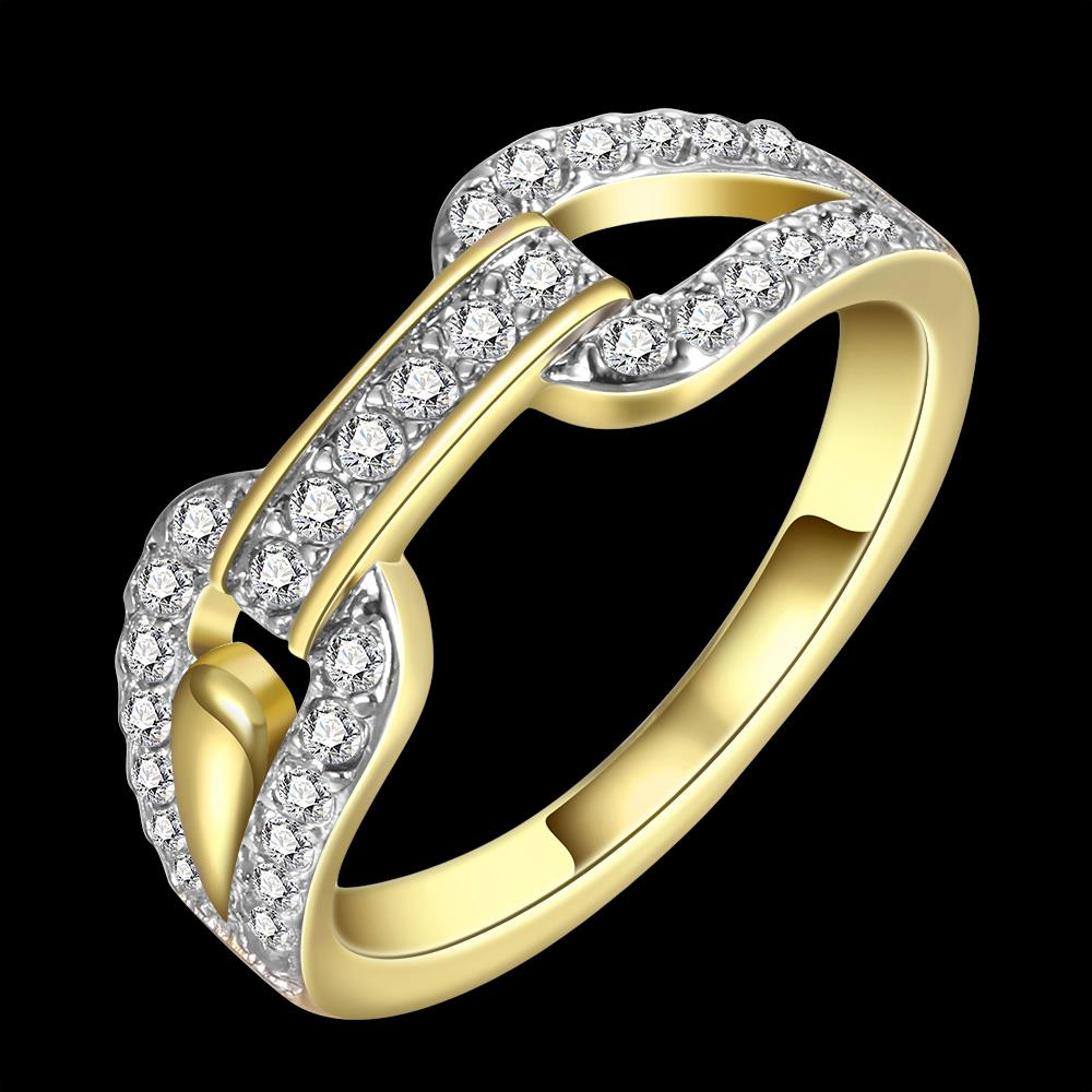 Wholesale Trendy 24K Gold Round White CZ Ring TGGPR749 3