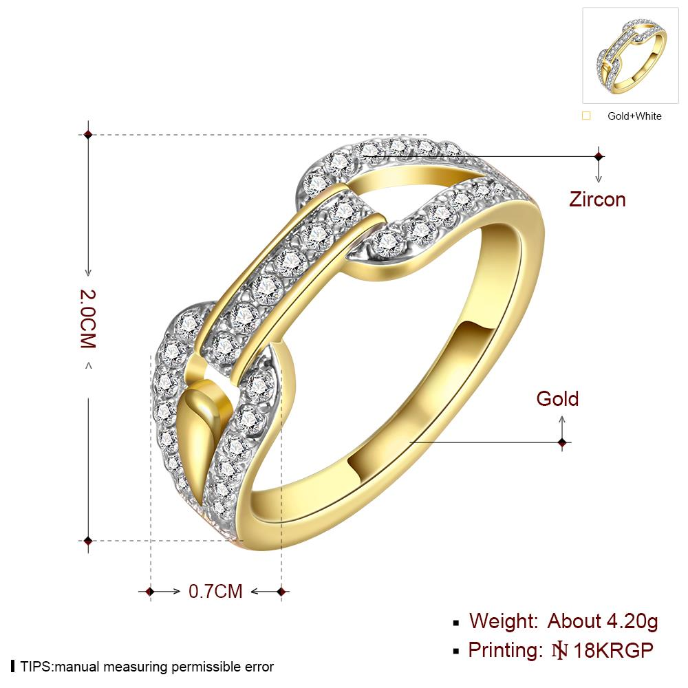 Wholesale Trendy 24K Gold Round White CZ Ring TGGPR749 4