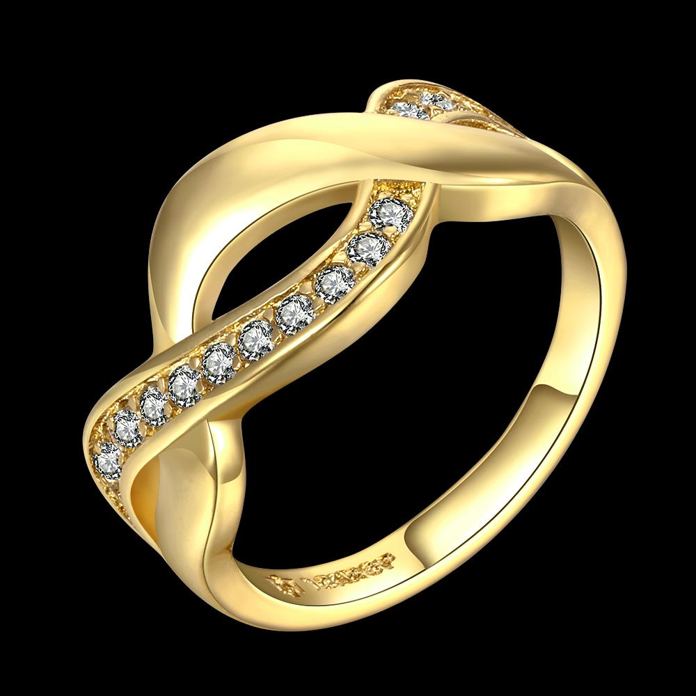 Wholesale Trendy 24K Gold Round White CZ Ring TGGPR758 0