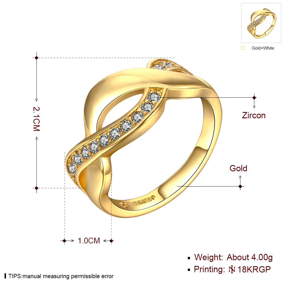 Wholesale Trendy 24K Gold Round White CZ Ring TGGPR758 1