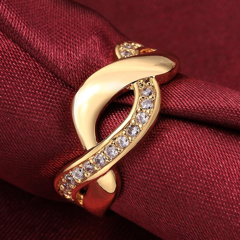 Wholesale Trendy 24K Gold Round White CZ Ring TGGPR758 2