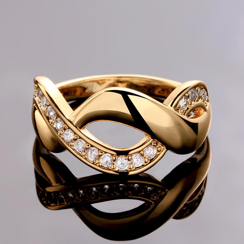 Wholesale Trendy 24K Gold Round White CZ Ring TGGPR758 3